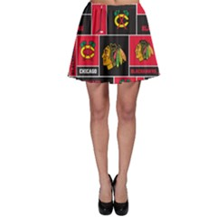 Chicago Blackhawks Nhl Block Fleece Fabric Skater Skirt by Onesevenart