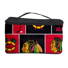 Chicago Blackhawks Nhl Block Fleece Fabric Cosmetic Storage Case by Onesevenart