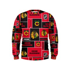 Chicago Blackhawks Nhl Block Fleece Fabric Kids  Sweatshirt by Onesevenart
