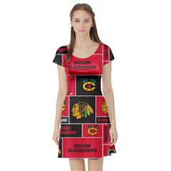 Chicago Blackhawks Nhl Block Fleece Fabric Short Sleeve Skater Dress by Onesevenart