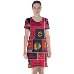 Chicago Blackhawks Nhl Block Fleece Fabric Short Sleeve Nightdress by Onesevenart