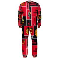 Chicago Blackhawks Nhl Block Fleece Fabric Onepiece Jumpsuit (men)  by Onesevenart
