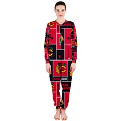 Chicago Blackhawks Nhl Block Fleece Fabric Onepiece Jumpsuit (ladies)  by Onesevenart