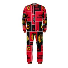 Chicago Blackhawks Nhl Block Fleece Fabric Onepiece Jumpsuit (kids) by Onesevenart