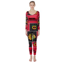 Chicago Blackhawks Nhl Block Fleece Fabric Long Sleeve Catsuit by Onesevenart