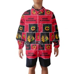 Chicago Blackhawks Nhl Block Fleece Fabric Wind Breaker (kids) by Onesevenart