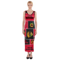 Chicago Blackhawks Nhl Block Fleece Fabric Fitted Maxi Dress by Onesevenart