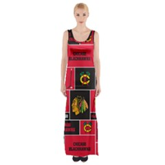 Chicago Blackhawks Nhl Block Fleece Fabric Maxi Thigh Split Dress by Onesevenart