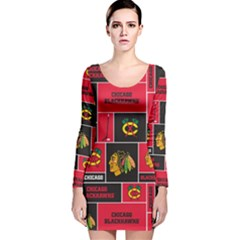 Chicago Blackhawks Nhl Block Fleece Fabric Long Sleeve Velvet Bodycon Dress by Onesevenart