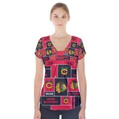 Chicago Blackhawks Nhl Block Fleece Fabric Short Sleeve Front Detail Top by Onesevenart