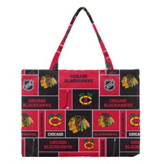 Chicago Blackhawks Nhl Block Fleece Fabric Medium Tote Bag by Onesevenart