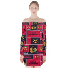 Chicago Blackhawks Nhl Block Fleece Fabric Long Sleeve Off Shoulder Dress by Onesevenart