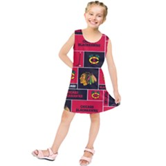 Chicago Blackhawks Nhl Block Fleece Fabric Kids  Tunic Dress by Onesevenart