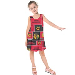 Chicago Blackhawks Nhl Block Fleece Fabric Kids  Sleeveless Dress by Onesevenart