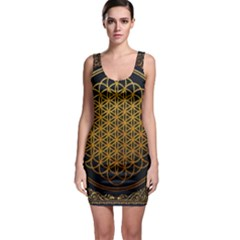 Bring Me The Horizon Cover Album Gold Sleeveless Bodycon Dress by Onesevenart