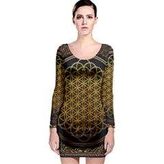 Bring Me The Horizon Cover Album Gold Long Sleeve Bodycon Dress by Onesevenart