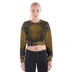 Bring Me The Horizon Cover Album Gold Women s Cropped Sweatshirt by Onesevenart