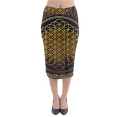 Bring Me The Horizon Cover Album Gold Midi Pencil Skirt by Onesevenart