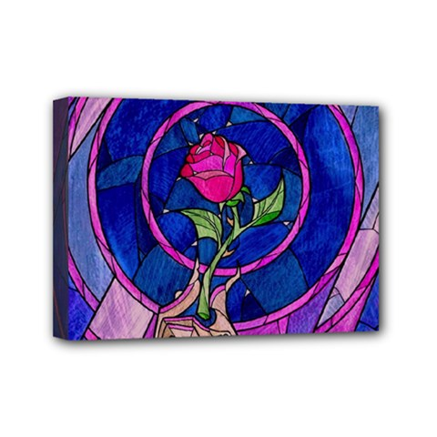 Enchanted Rose Stained Glass Mini Canvas 7  X 5  by Onesevenart