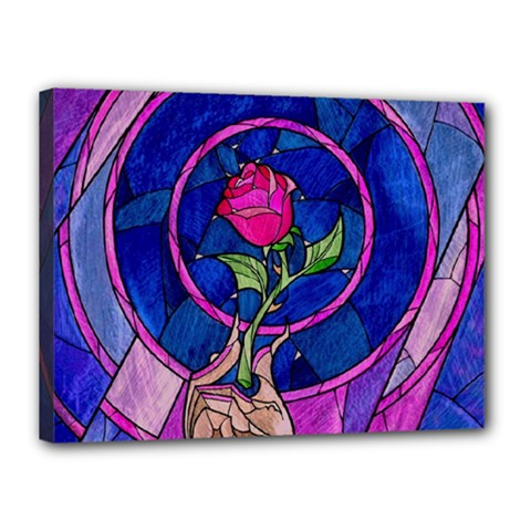 Enchanted Rose Stained Glass Canvas 16  X 12  by Onesevenart