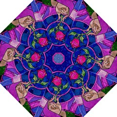 Enchanted Rose Stained Glass Folding Umbrellas by Onesevenart