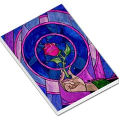 Enchanted Rose Stained Glass Large Memo Pads by Onesevenart