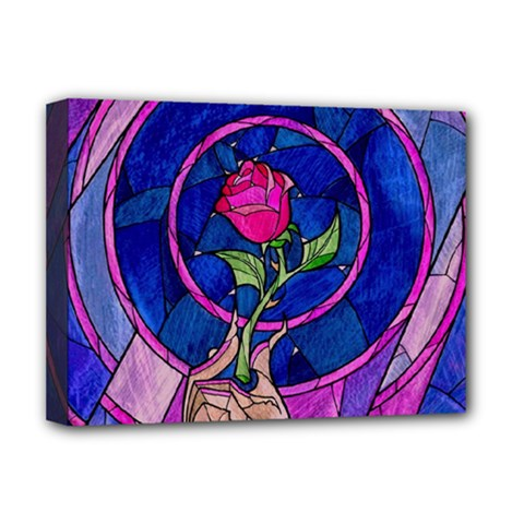 Enchanted Rose Stained Glass Deluxe Canvas 16  X 12   by Onesevenart