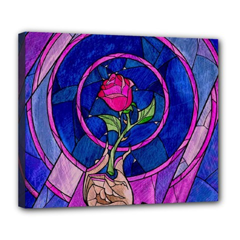 Enchanted Rose Stained Glass Deluxe Canvas 24  X 20   by Onesevenart