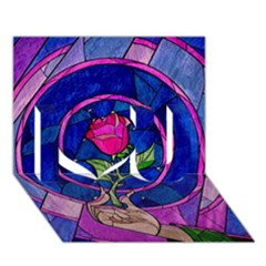 Enchanted Rose Stained Glass I Love You 3d Greeting Card (7x5) by Onesevenart