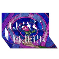 Enchanted Rose Stained Glass Best Friends 3d Greeting Card (8x4) by Onesevenart