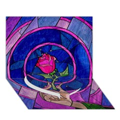 Enchanted Rose Stained Glass Heart Bottom 3d Greeting Card (7x5) by Onesevenart