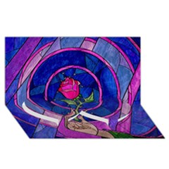 Enchanted Rose Stained Glass Twin Heart Bottom 3d Greeting Card (8x4) by Onesevenart