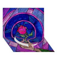 Enchanted Rose Stained Glass Circle Bottom 3d Greeting Card (7x5) by Onesevenart