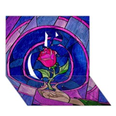 Enchanted Rose Stained Glass Apple 3d Greeting Card (7x5) by Onesevenart