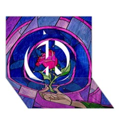 Enchanted Rose Stained Glass Peace Sign 3d Greeting Card (7x5) by Onesevenart