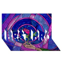 Enchanted Rose Stained Glass Best Bro 3d Greeting Card (8x4) by Onesevenart