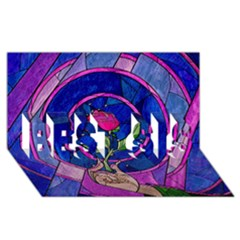 Enchanted Rose Stained Glass Best Sis 3d Greeting Card (8x4) by Onesevenart