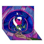 Enchanted Rose Stained Glass Ribbon 3D Greeting Card (7x5)