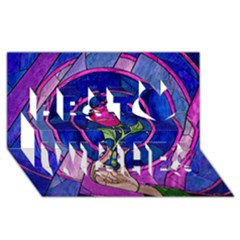 Enchanted Rose Stained Glass Best Wish 3d Greeting Card (8x4) by Onesevenart