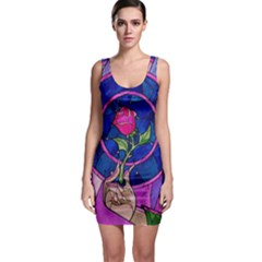 Enchanted Rose Stained Glass Sleeveless Bodycon Dress by Onesevenart