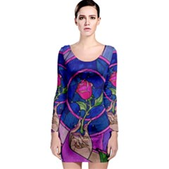 Enchanted Rose Stained Glass Long Sleeve Bodycon Dress by Onesevenart