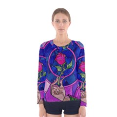 Enchanted Rose Stained Glass Women s Long Sleeve Tee by Onesevenart
