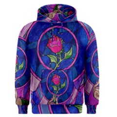 Enchanted Rose Stained Glass Men s Pullover Hoodie by Onesevenart
