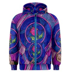 Enchanted Rose Stained Glass Men s Zipper Hoodie by Onesevenart
