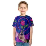 Enchanted Rose Stained Glass Kids  Sport Mesh Tee