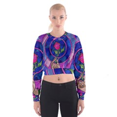 Enchanted Rose Stained Glass Women s Cropped Sweatshirt by Onesevenart