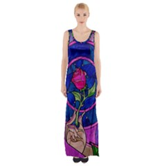 Enchanted Rose Stained Glass Maxi Thigh Split Dress by Onesevenart