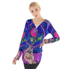 Enchanted Rose Stained Glass Women s Tie Up Tee by Onesevenart