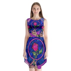 Enchanted Rose Stained Glass Sleeveless Chiffon Dress   by Onesevenart
