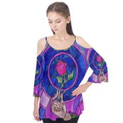 Enchanted Rose Stained Glass Flutter Tees by Onesevenart